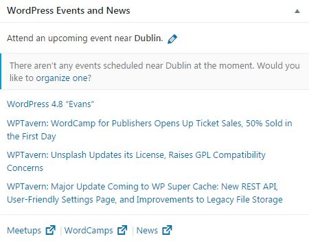 WordPress 4.8 new and events widget web design