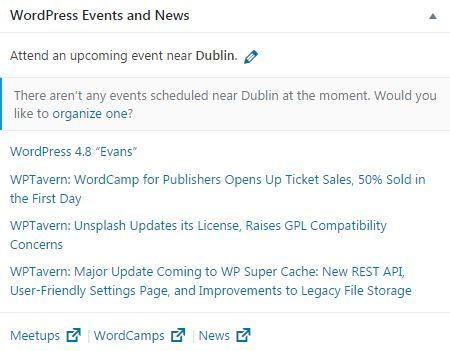 WordPress 4.8 new and events widget web design