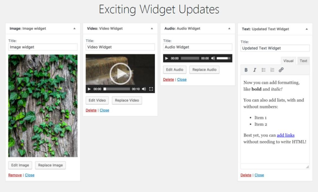 WordPress 4.8 video widget web design