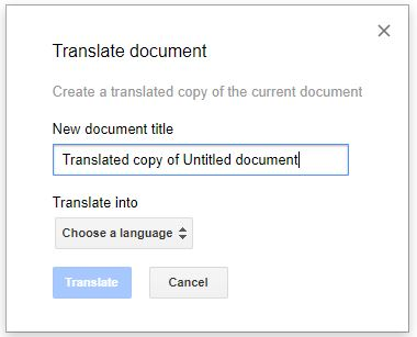 google docs translate