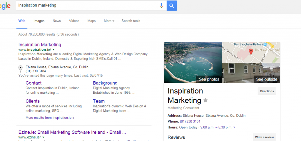 Goolge Search Results local seo search engine optimisation
