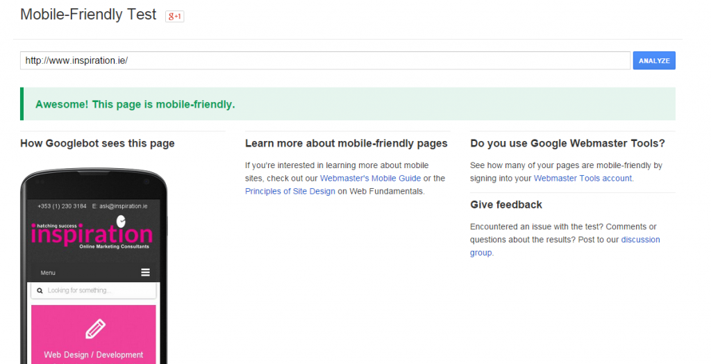 Mobile Friendliness of Website