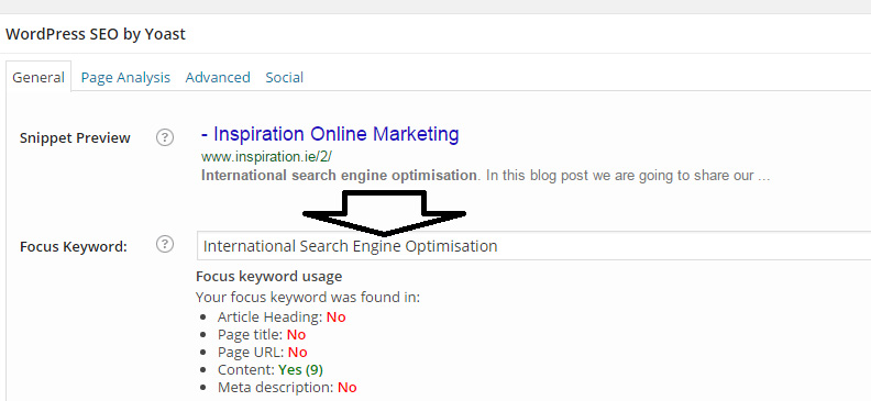 SEO Keyword Focus area of Yoast International Search Engine Optimisation