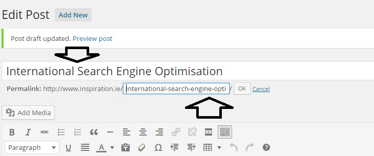 SEO International Search Engine Optimisation Page Title Area in WordPress CMS Back End