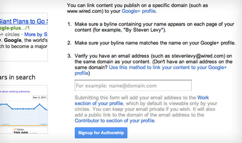 Sign-up for Google Plus Authorship