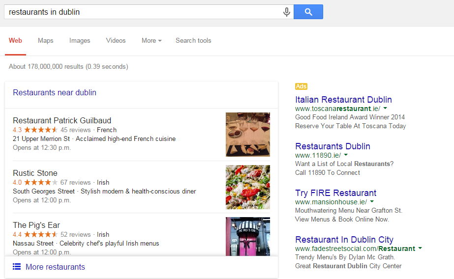 Google search engine optimisation results page for 'restaurants in dublin' ireland